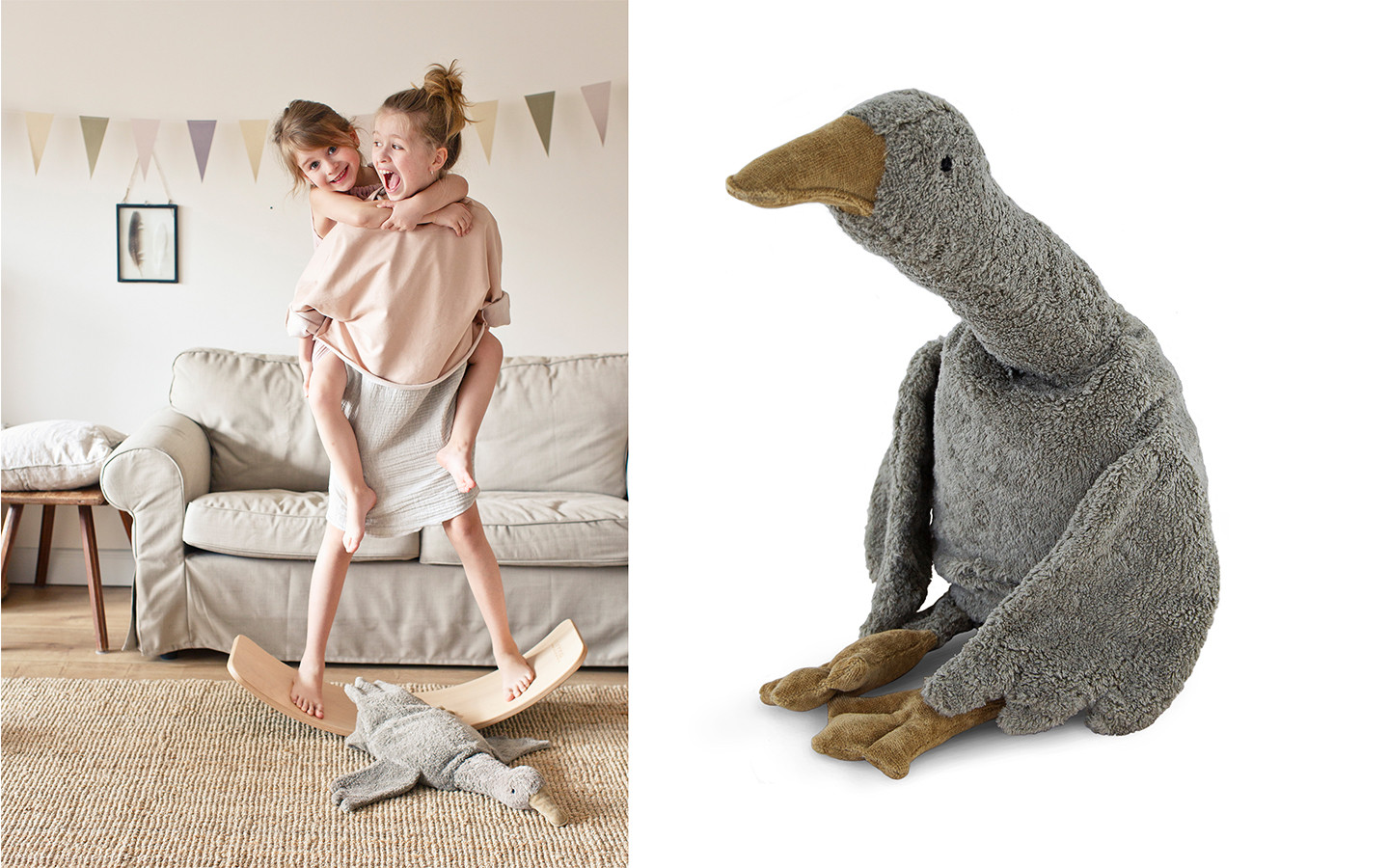 Cuddly Animal Goose large grey