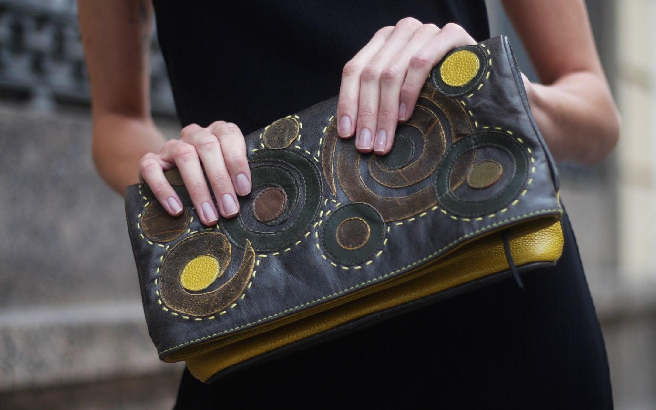 Upcycled leather handmade bag